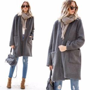 NATALIA Long Sleeve Boucle Jacket - Charcoal